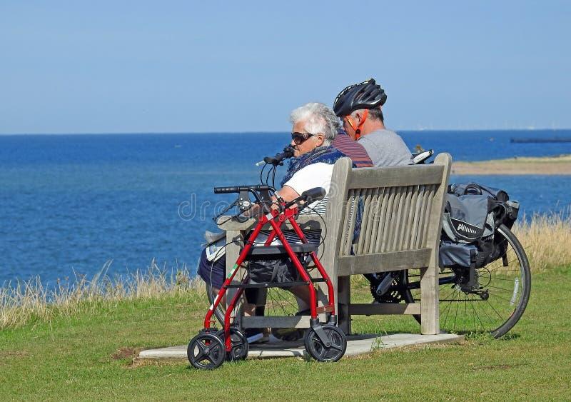 Elderly people on holiday stock photo