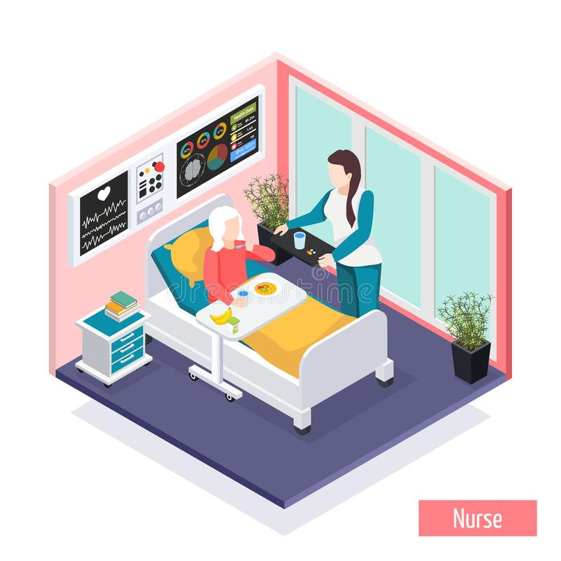 Elderly People Isometric Composition. Elderly people nursing home assisted living facility isometric composition with personnel providing care for residents royalty free illustration