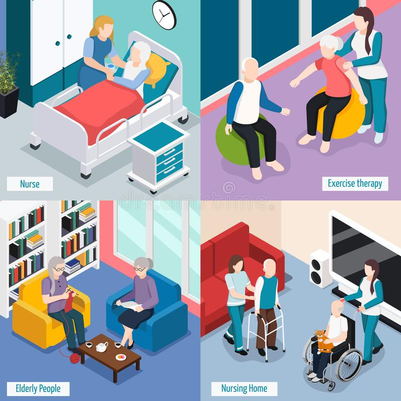 Elderly People Isometric Concept. Elderly people nursing home accommodations concept with residents reading lounge exercise therapy medical care isolated vector royalty free illustration