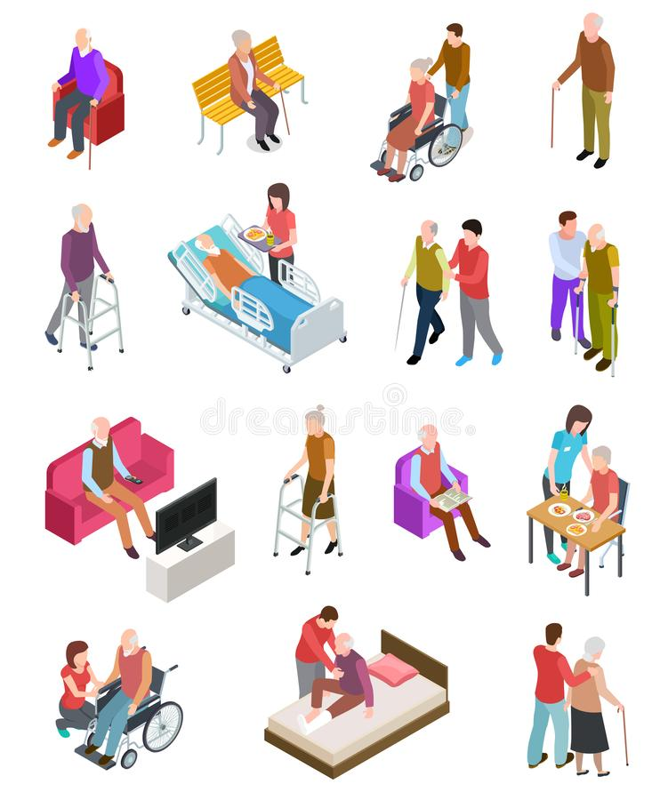 Elderly people isometric. Senior persons, helper nurse. Seniors medical home therapy. People in wheelchair. 3d vector illustration