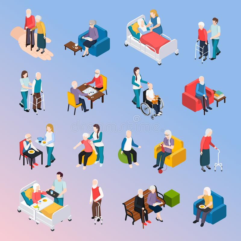 Elderly People Isometric Set. Elderly people nursing home residents isometric icons set with medical care physical activities assistance leisure vector stock illustration