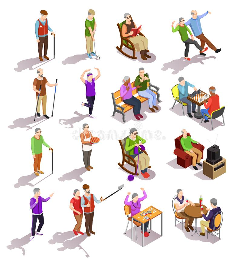 Elderly People Isometric Set. Set of isometric elderly people during various activity cooking physical exercises meeting with friends isolated vector royalty free illustration