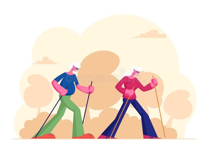 Elderly People Nordic Walking Open Air Workout with Sticks. Aged Couple Engage Sport Outdoors. Happy Senior Man. And Woman Hiking Training. Pensioners Healthy royalty free illustration