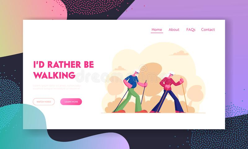 Elderly People Nordic Walking Website Landing Page. Aged Couple Engage Outdoors Sport Open Air Workout with Sticks. Seniors Hiking Healthy Lifestyle Web Page stock illustration