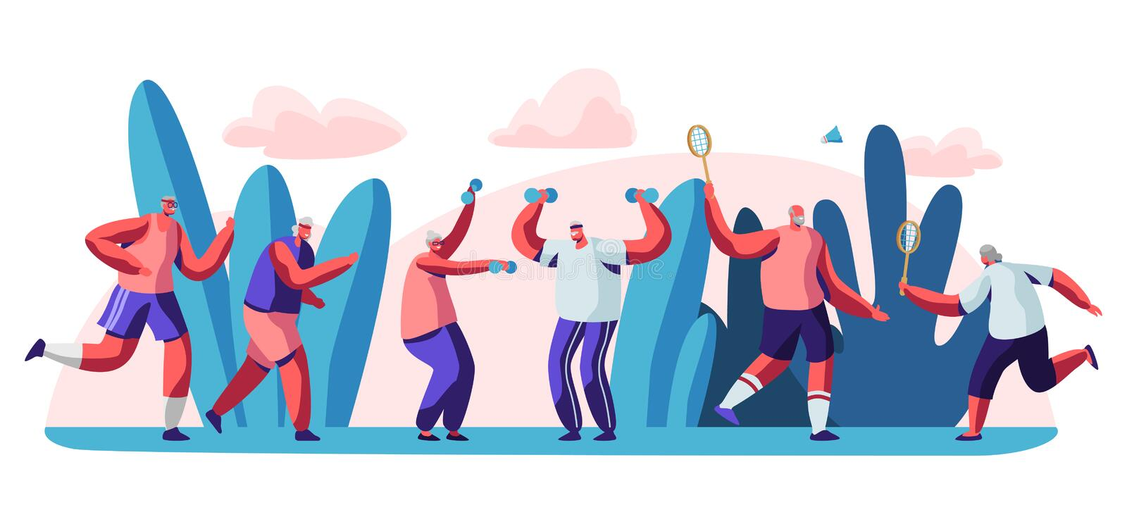Elderly People Open Air Workout. Senior Men and Women Characters Running, Doing Exercises, Playing Badminton Outdoors Together royalty free illustration