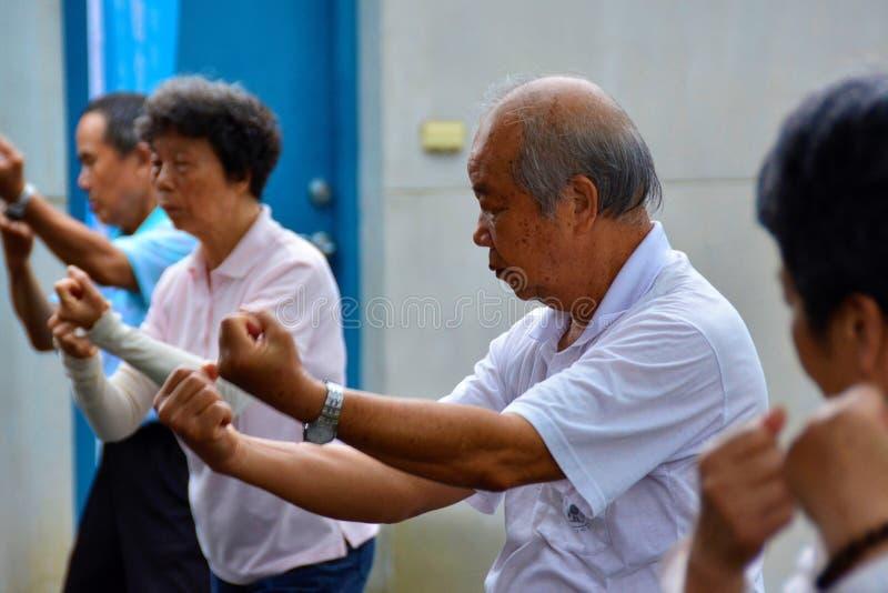 Elderly people practising tai chi stock photography