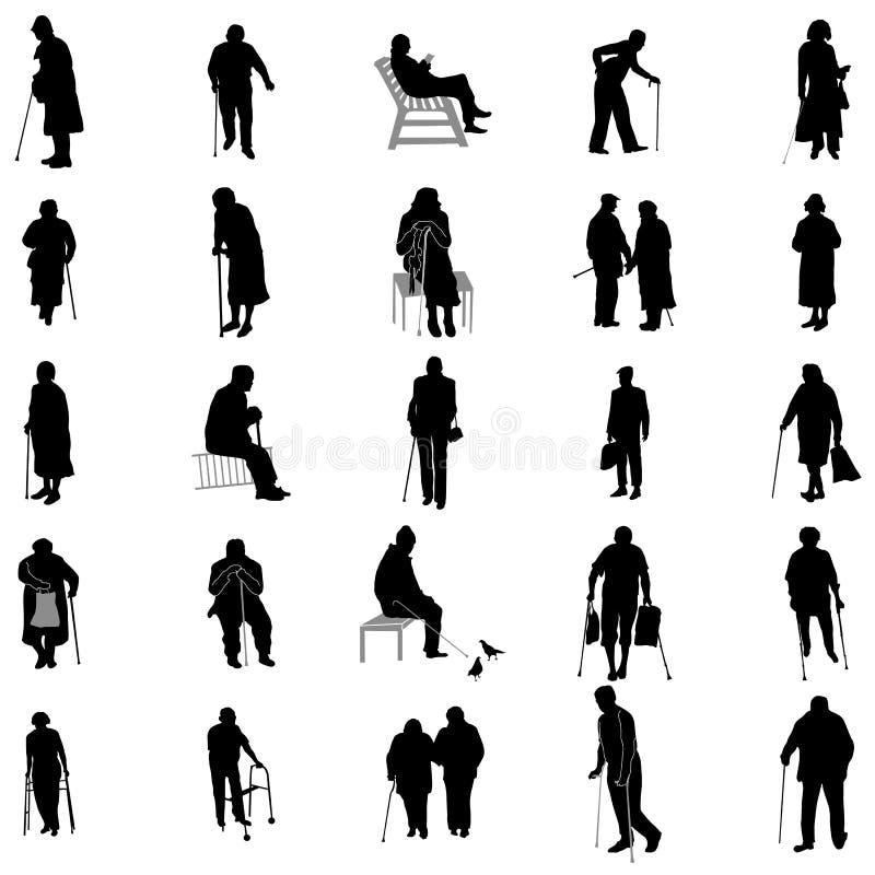 Elderly people silhouette set stock illustration