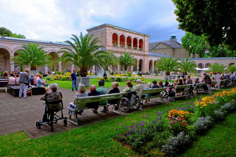 Elderly people together in park - European future generation royalty free stock photography