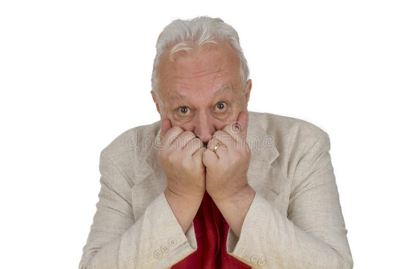 Elderly person is looking in fear royalty free stock photo