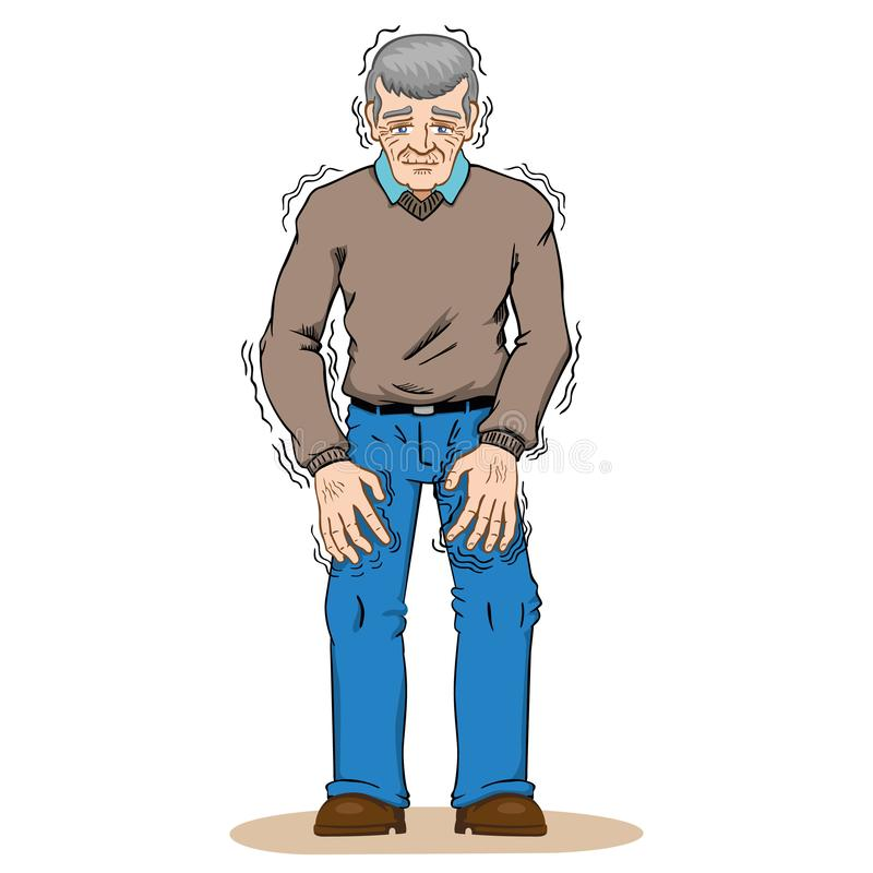 Elderly person with trembling symptoms of Parkinson`s, cold or fear, Caucasian. Ideal for educational and institutional and medical materials royalty free illustration