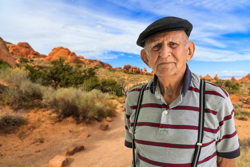 Elderly Man Outdoors. Elderly 80 plus year old man outdoor portrait in Arches National Park royalty free stock photos