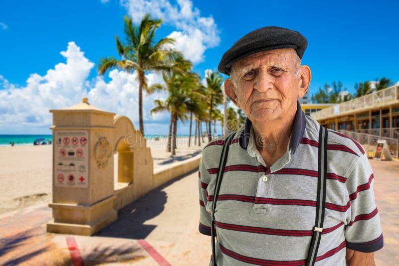 Elderly Man Outdoors. Elderly 80 plus year old man outdoor portrait enjoying Hollywood Beach, Florida stock photos