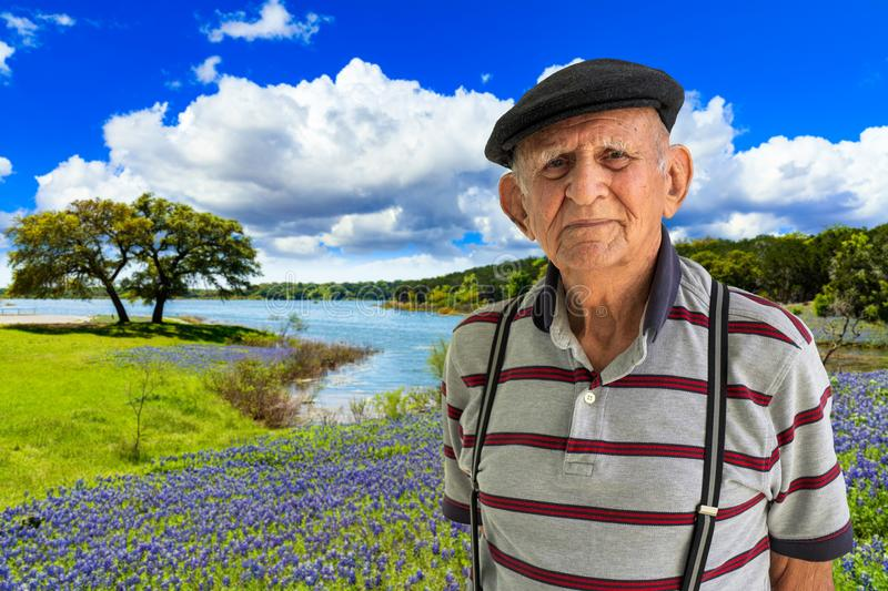 Elderly Man Outdoors. Elderly 80 plus year old man outdoor portrait in the Texas Hill Country stock photos