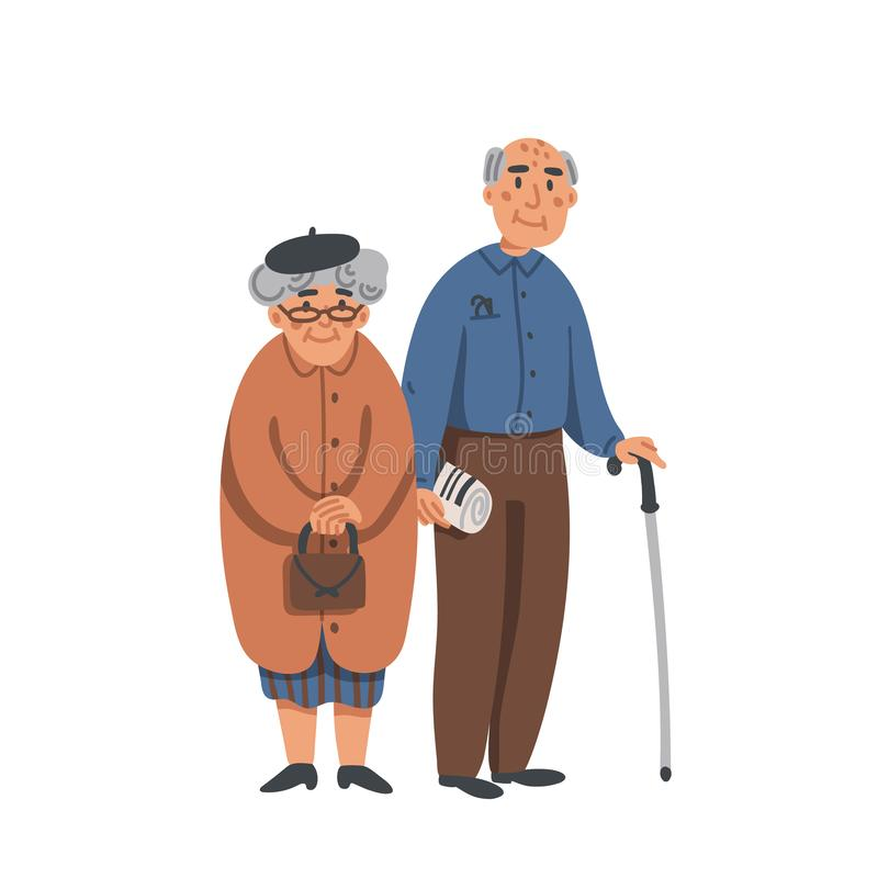 Elderly senior man and woman in glasses standing together. Aged grey haired couple. Nursing home. Senior people vector illustration