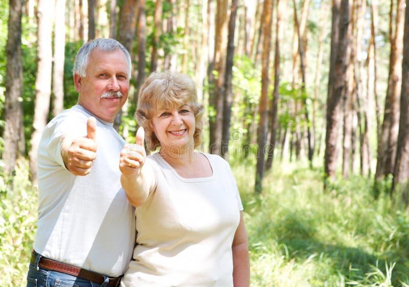 Elderly seniors couple stock images
