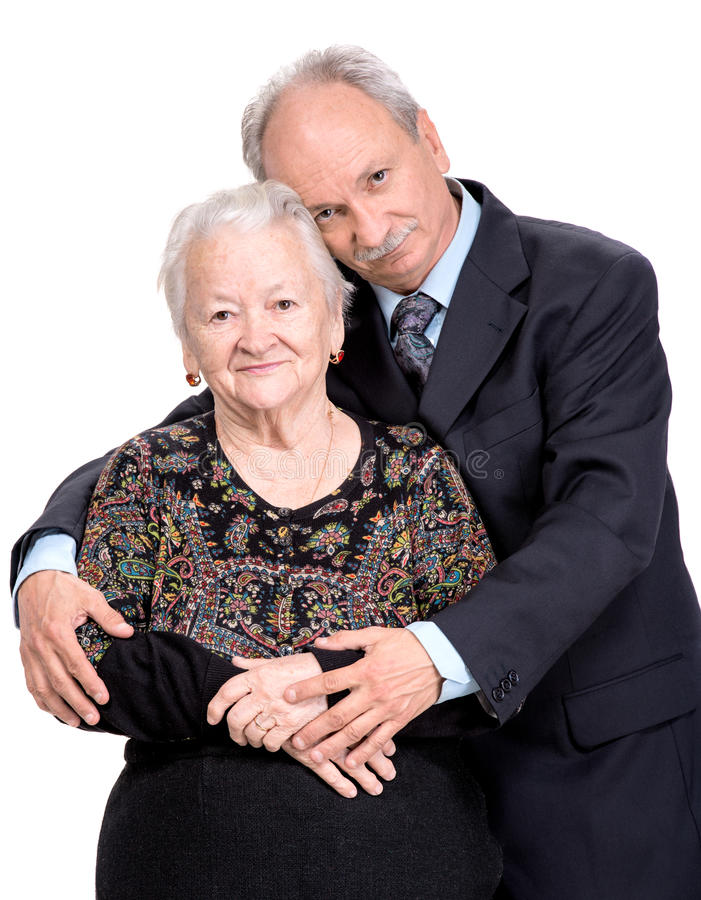 Elderly son with old mother. On a white background stock images