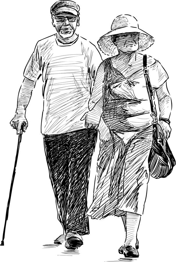 Elderly spouse walking royalty free illustration