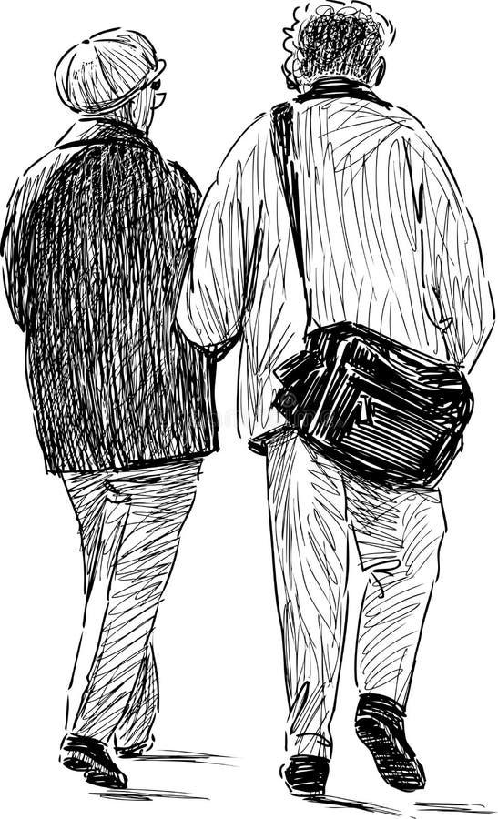 Elderly spouses walking stock illustration
