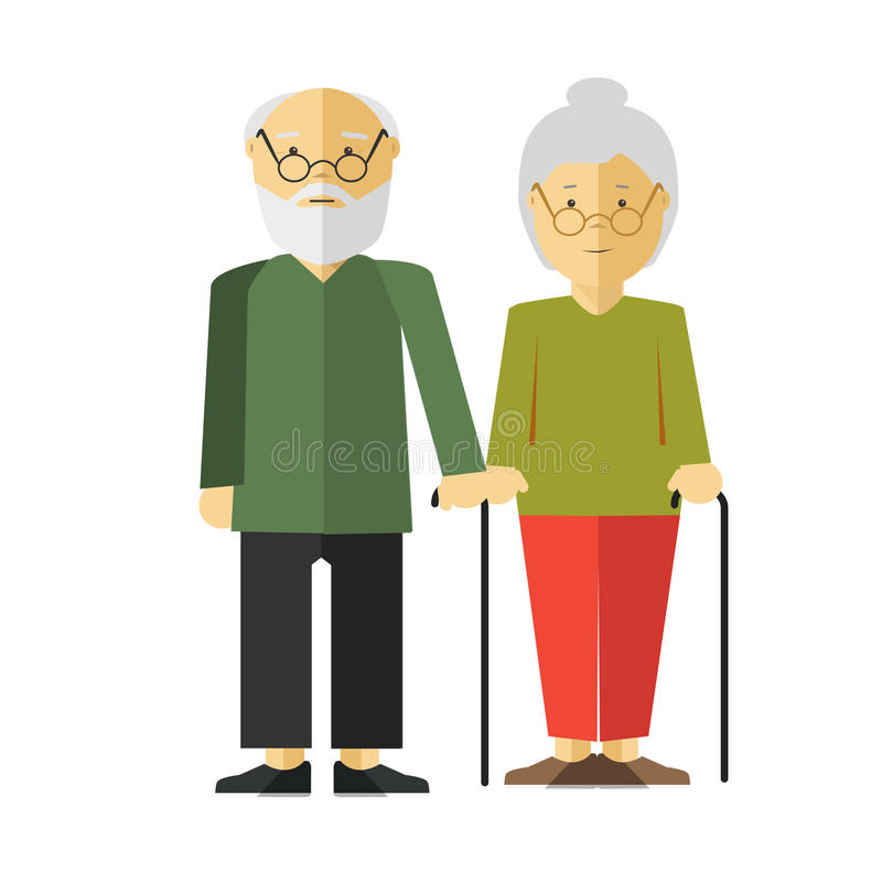 Elderly Standing Couple with Sticks on White. Elderly standing couple with holding sticks on white. Old man and woman with grey hair and glasses wearing green royalty free illustration