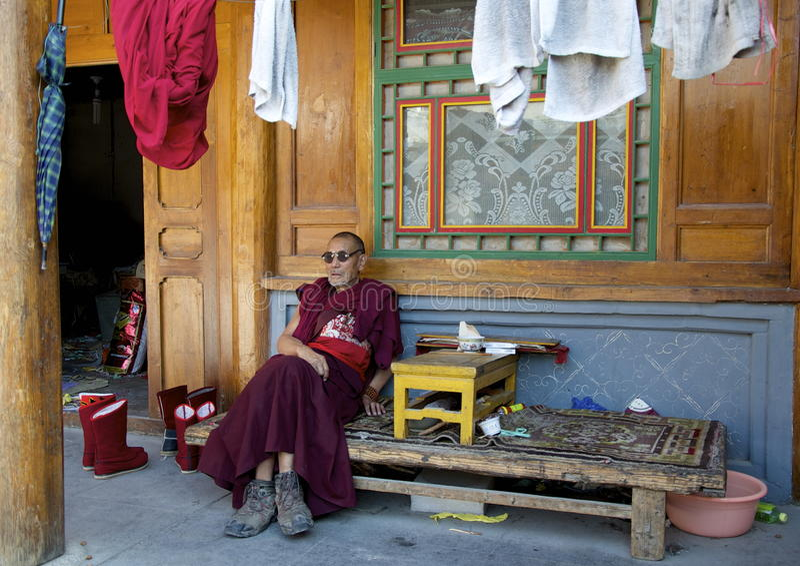 Elderly Tibetan Monk stock photos