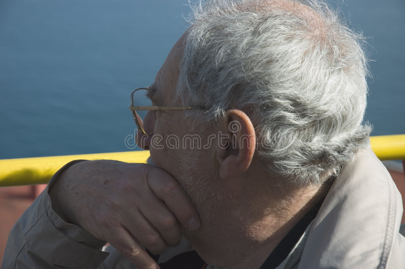 Elderly tourist close up in Naples stock image