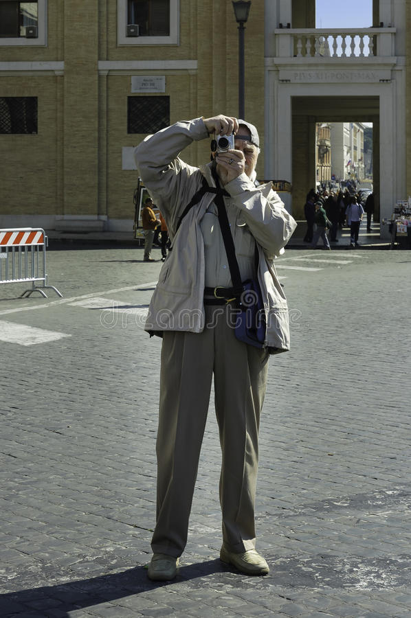 Elderly tourist in Rome royalty free stock photography