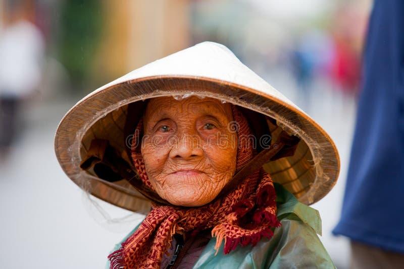 Elderly Vietnamese woman stock images