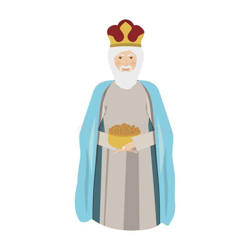 Elderly wise man gaspar kneel down. Vector illustration royalty free illustration