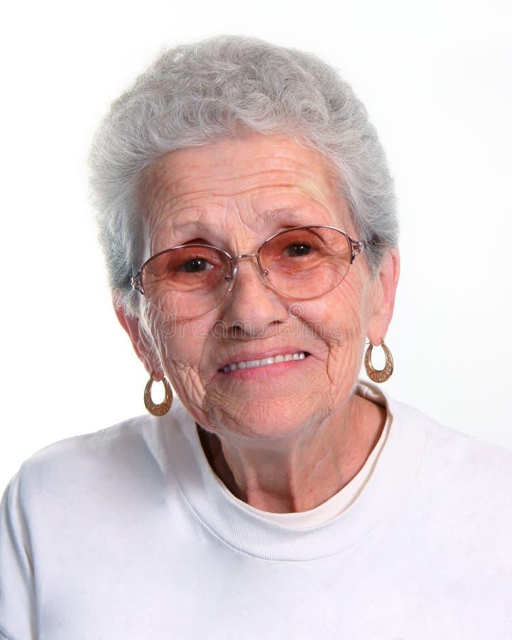 Elderly Woman. Senior Citizen Wearing Glasses on White
