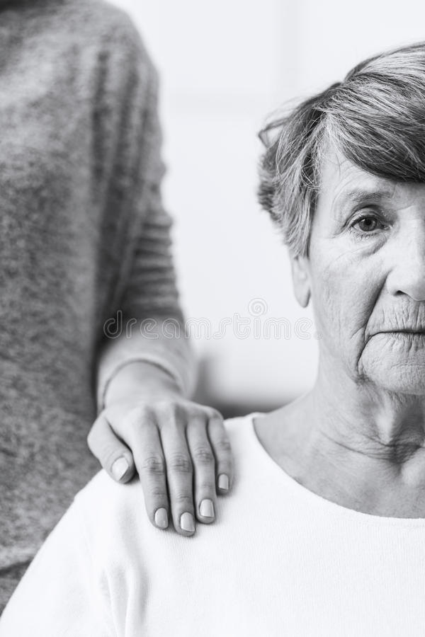 Elderly woman with alzheimer royalty free stock photos