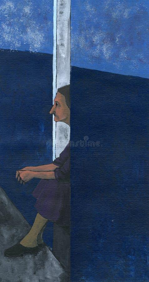 Elderly woman - artwork royalty free illustration