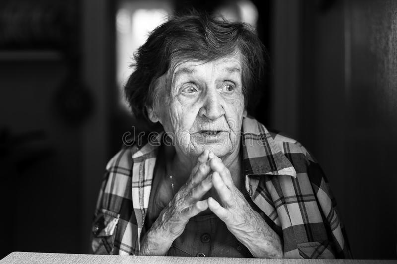 Download Elderly Woman Black And White Portrait. Stock Photo - Image: 83716614