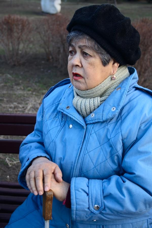Elderly woman confide stock photography