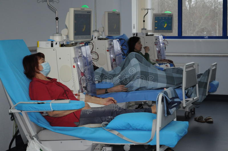 Elderly woman on dialysis in the hospital royalty free stock image