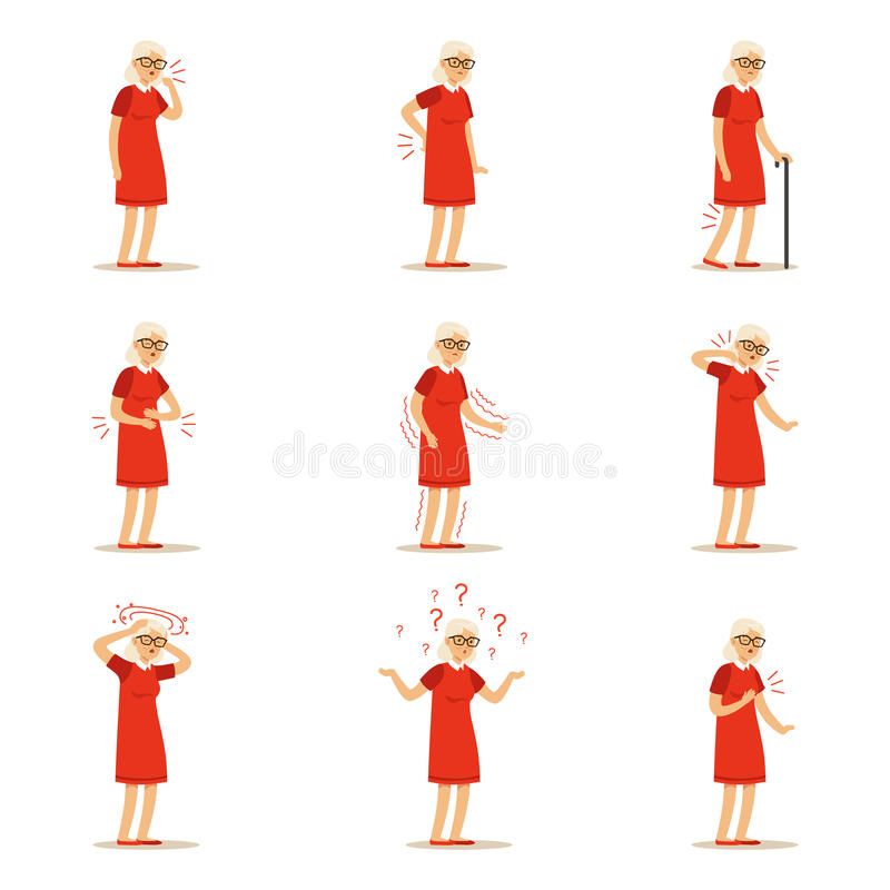 Elderly woman diseases, pain problem in back, neck, arm, heart, knee and head. Senior health set of colorful cartoon vector illustration