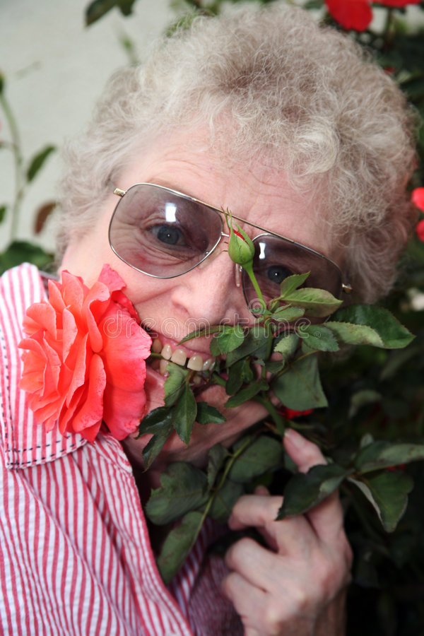 Elderly woman with flower stem in mouth stock photos