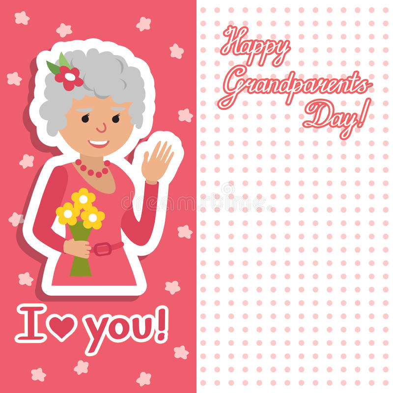 Elderly woman with flowers vector illustration postcard for grandparents day. Face of grandmother inscription flat style. Senior cute woman waving hand card vector illustration