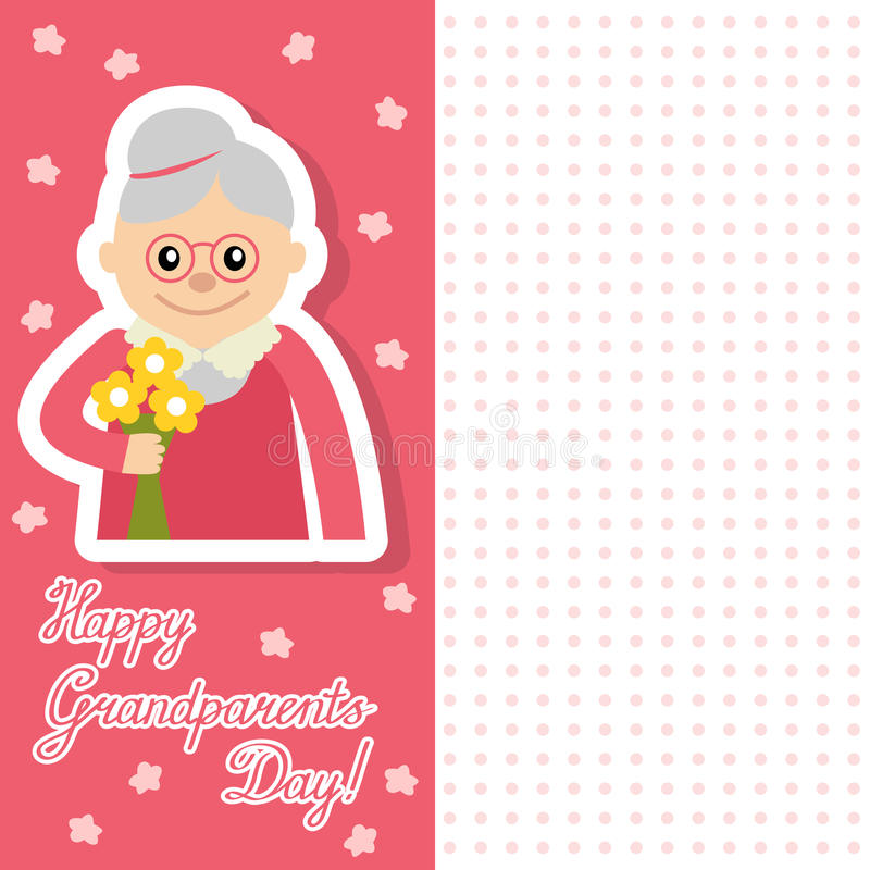Elderly woman with flowers vector illustration postcard for grandparents day. Face of grandmother inscription flat style. Senior cute woman waving hand card royalty free illustration