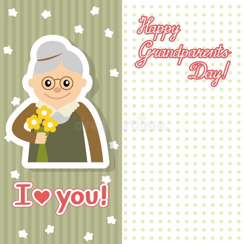 Elderly woman with flowers vector illustration postcard for grandparents day. Face of grandmother inscription flat style. Senior cute woman waving hand card stock illustration
