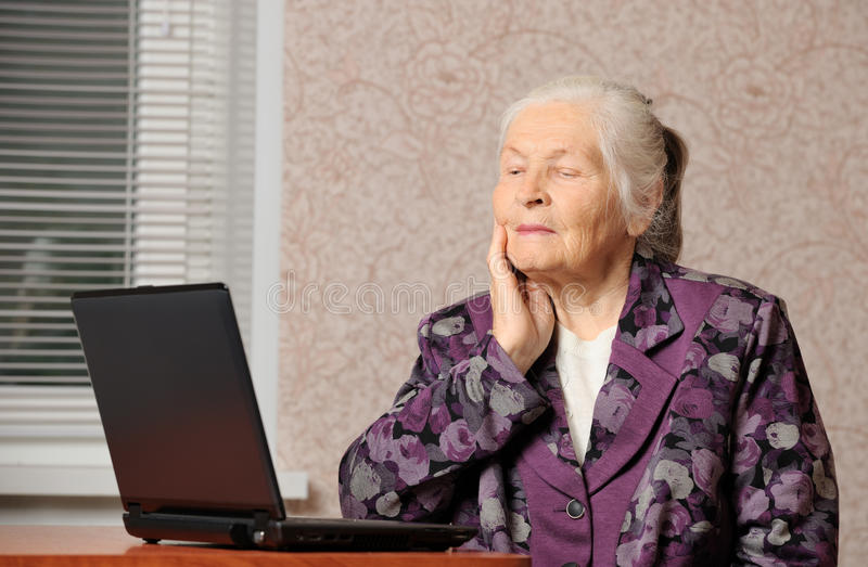 Download The Elderly Woman In Front Of The Laptop Stock Image - Image: 26129239