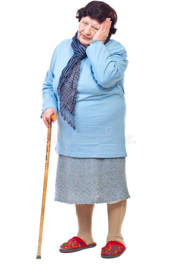 Elderly woman with hard life royalty free stock photography