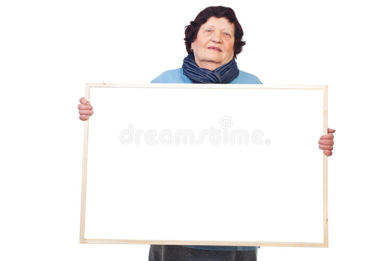 Download Elderly Woman Holding Banner Stock Photo - Image: 16509868
