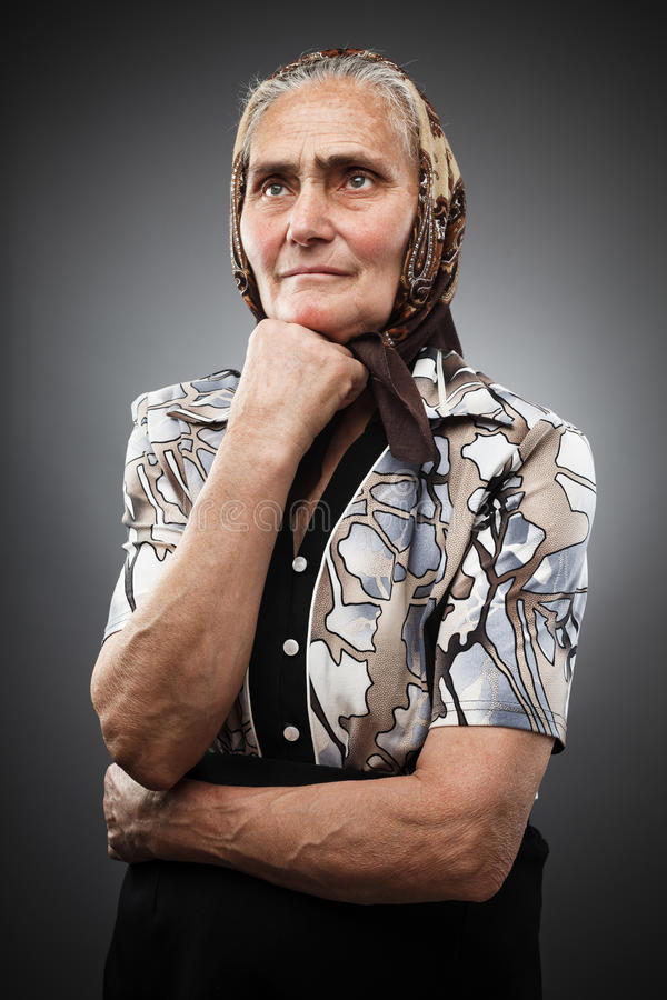 Download Elderly Woman With Kerchief Stock Photo - Image: 24586512