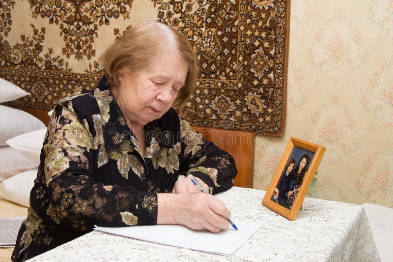 Download Elderly woman and  letter stock photo. Image of adult - 18196240