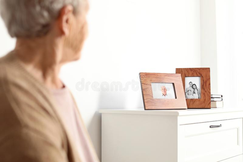 Elderly woman looking at framed  portraits indoors royalty free stock photos