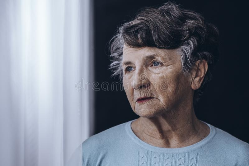 Elderly woman with memory problem royalty free stock images