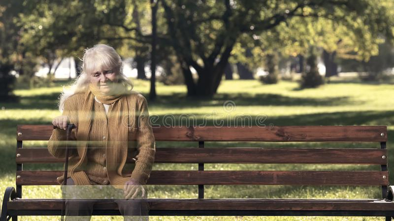 Elderly woman missing deceased friend, female vanishing, life expectancy royalty free stock photo