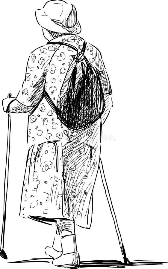 Elderly woman with Norwegian sticks royalty free illustration