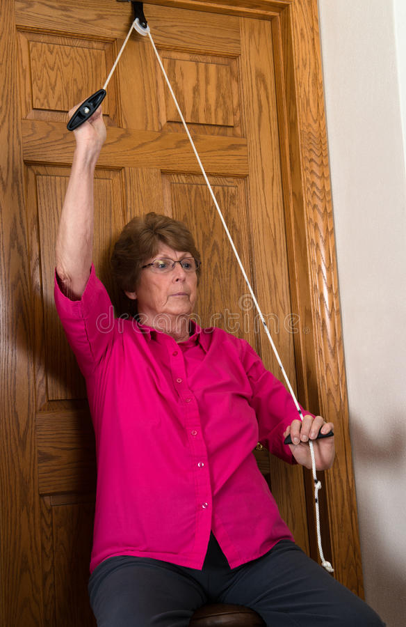 Elderly Woman Physical Therapy Exercise stock photo