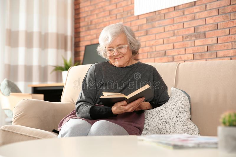 Elderly woman reading book on sofa stock photos